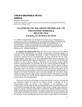 Grupo orunmila ni ifa oniifa. letra del año para venezuela 2016 definitiva copia