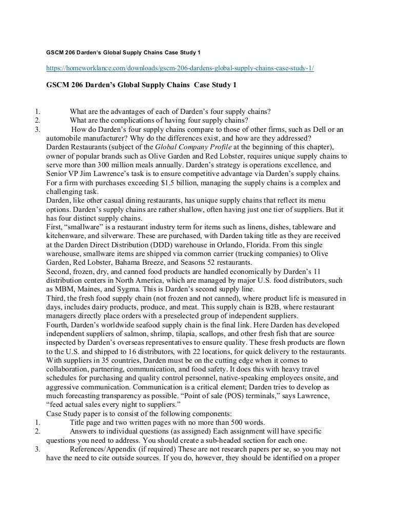 Darden Restaurant Case Study Essay - 743 Words   Bartleby