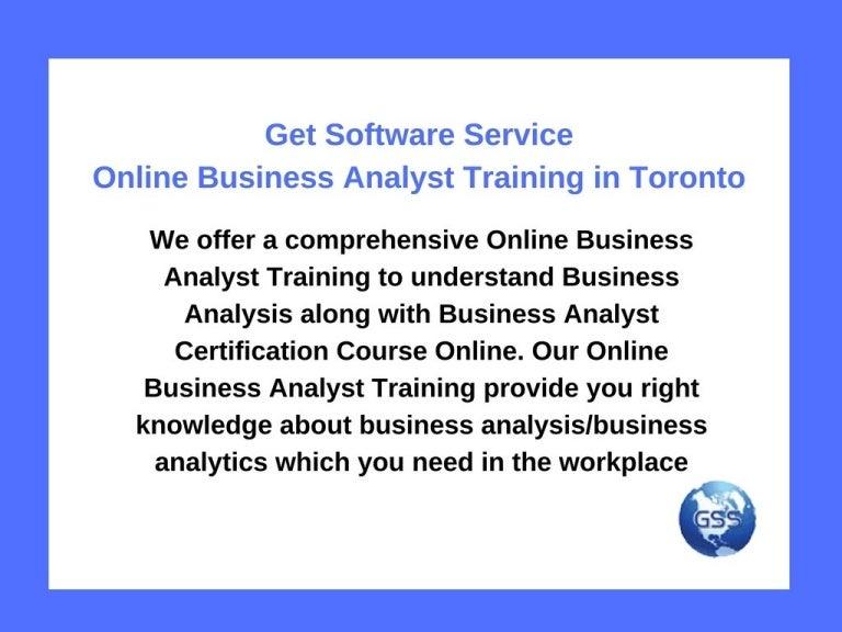 Get Software Service Online Business Analyst Training In Toronto
