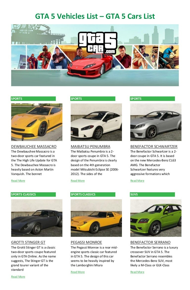 Gta 5 Vehicles List