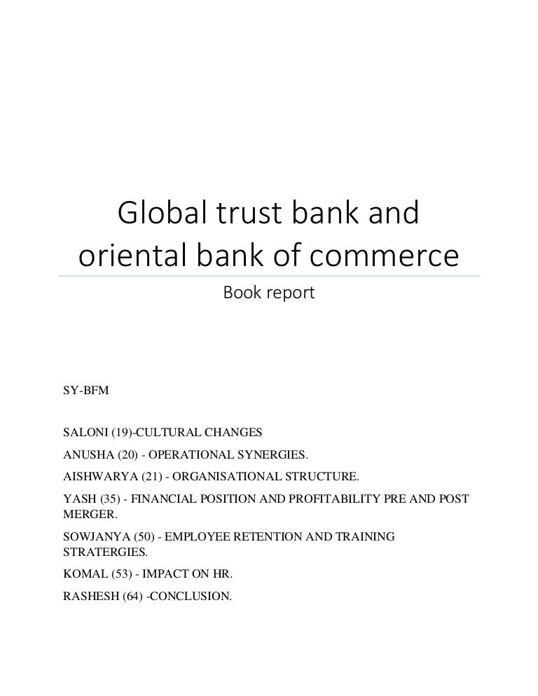 GLOBAL TRUST BANK AND ORIENTAL BANK OF COMMERCE