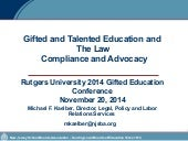 Gifted and Talented Education and the Law: Compliance and Advocacy