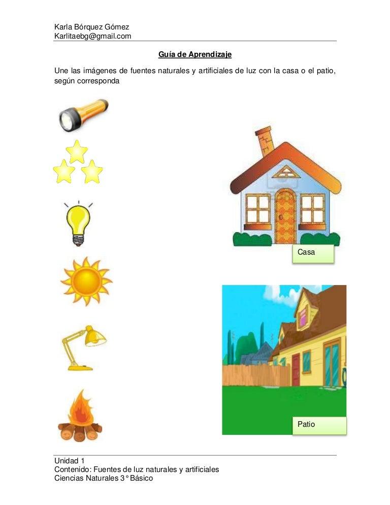 Guía De Aprendizajeclase 3fuentes Naturales Y Artificiales De Luz
