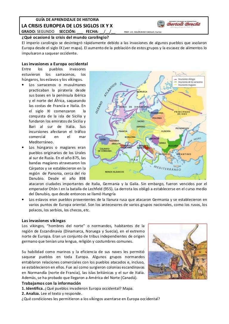 Mapa Europa Siglo Ix.Guia De Crisis Europea Siglos Ix Y X