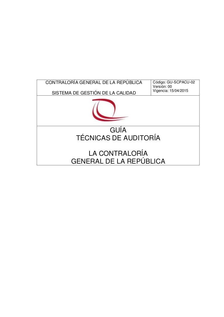 GUÍA DE TÉCNICAS DE AUDITORÍA