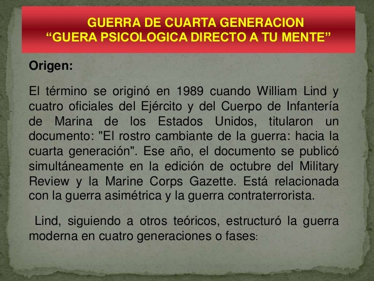 GUERRA DE CUARTA GENERACION