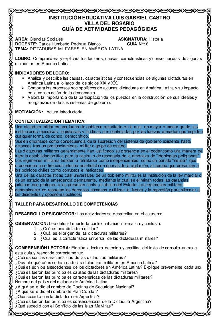 Guia 6 dictaduras militares en américa latina ciencias sociales 10° c…