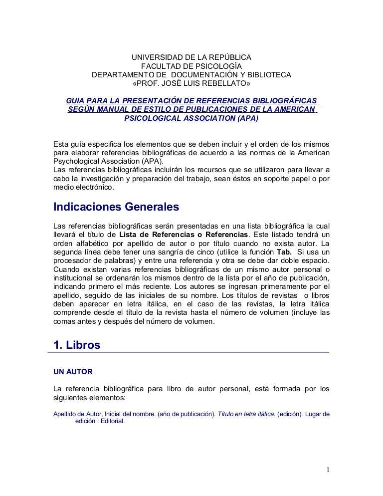 Guia Para Elaborar Citas Y Bibliografia Estilo Apa Pedir
