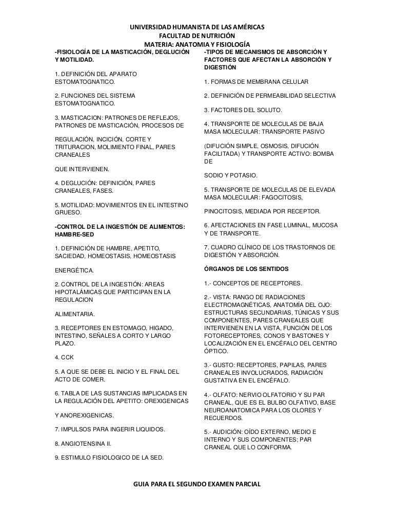ANATOMIA Y FISIOLOGIA SABATINO: Guia de Estudio para el Segundo Exame…