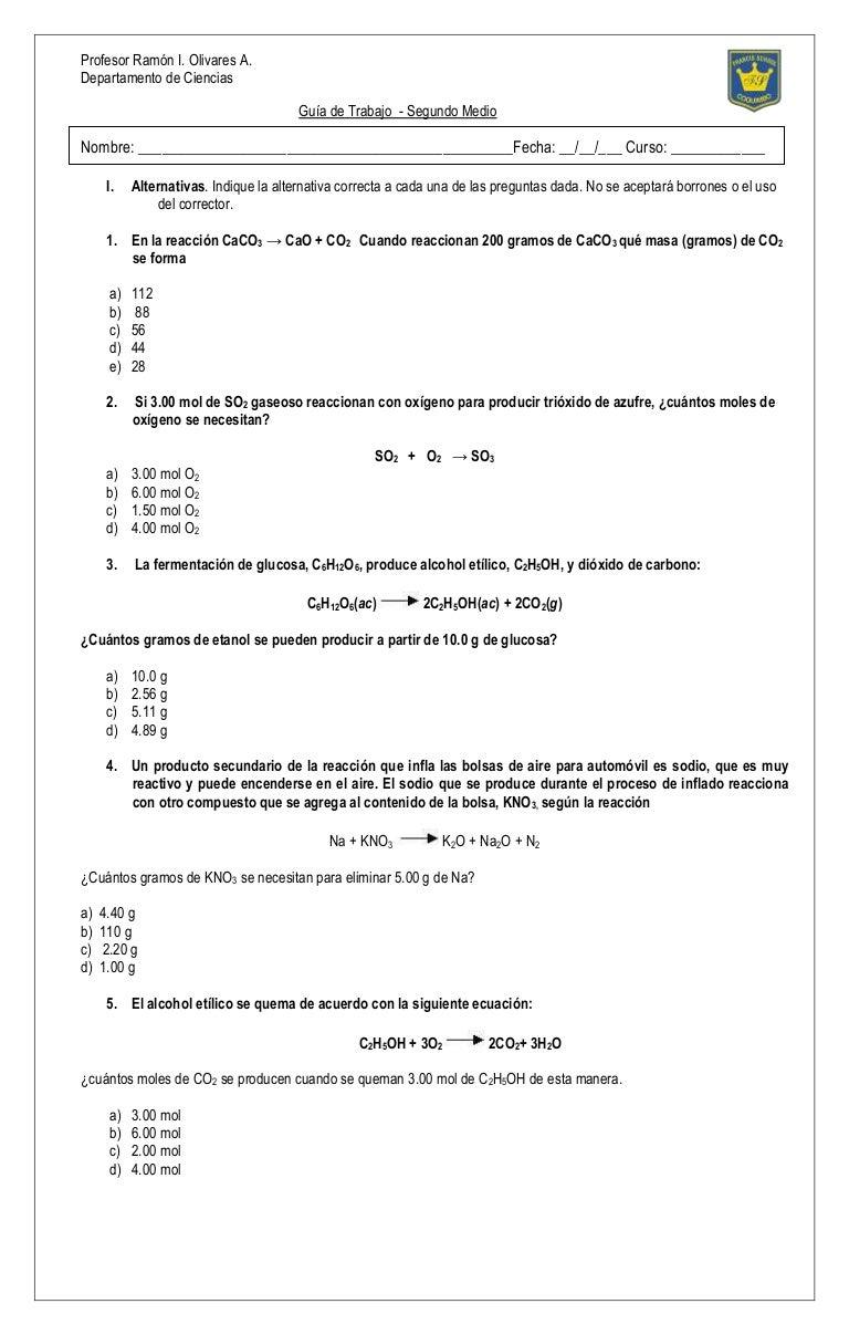 Bonito EstequiometrÃa Clave De Respuestas Hoja De Trabajo Cresta ...