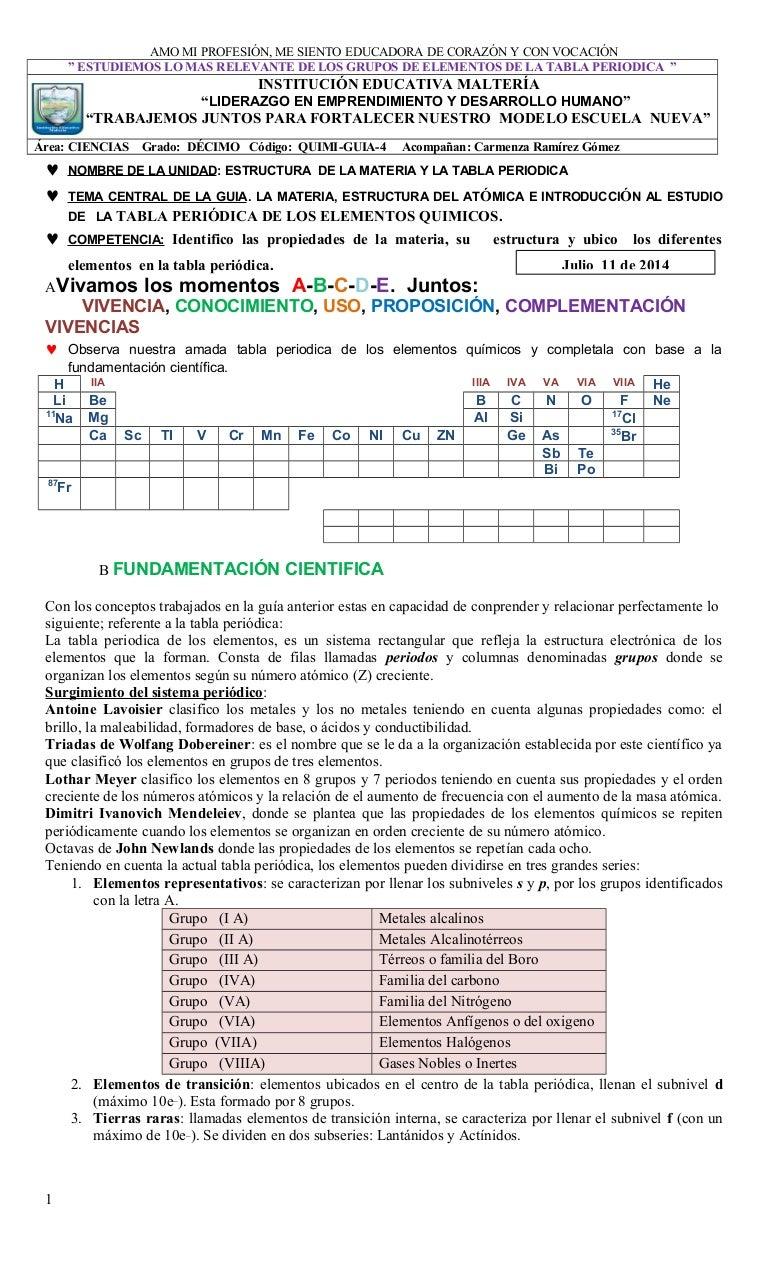 Guia no 4 quimica 10 la materia y la tabla periodica julio 11 2014 urtaz Choice Image