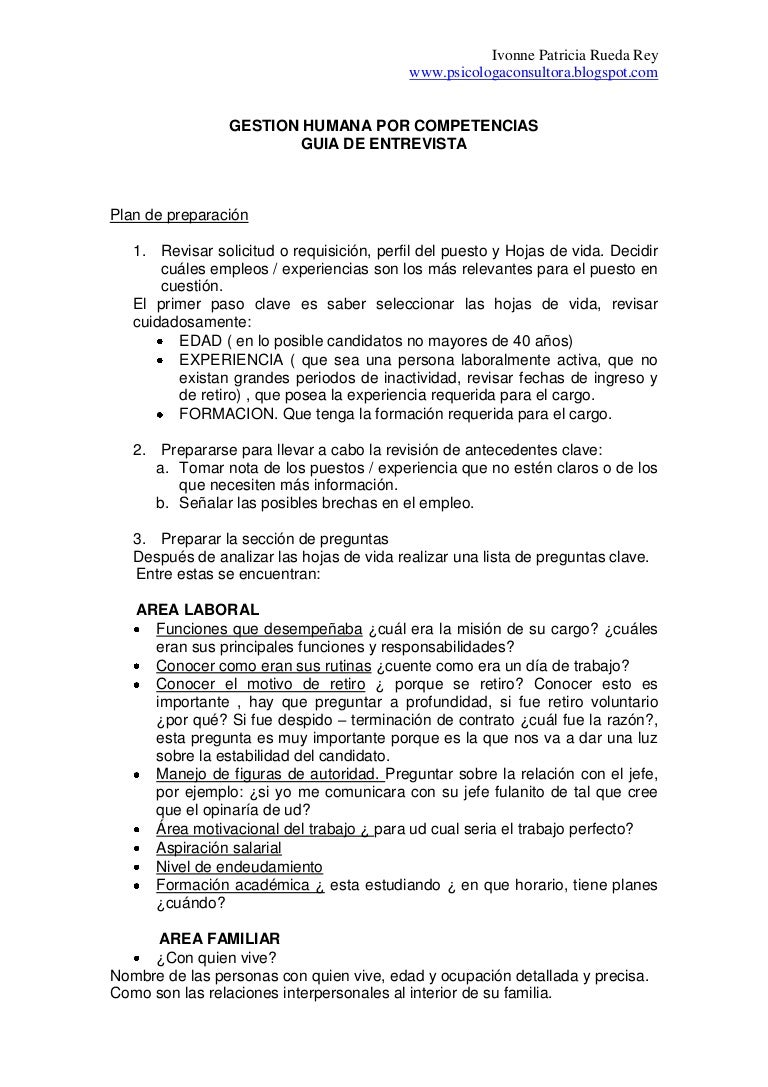 Guia para realizar una entrevista de seleccion de personal