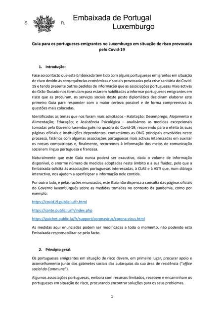 Guia para portugueses em risco emigrantes no Luxemburgo