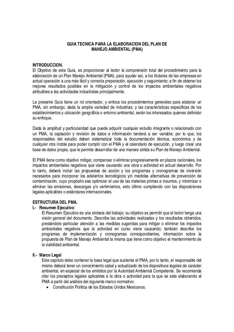 Guia tecnica para la elaboracion del plan de manejo ambiental