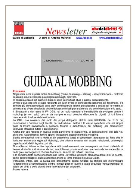 Guida al Mobbing - a cura di Antonio Marchini