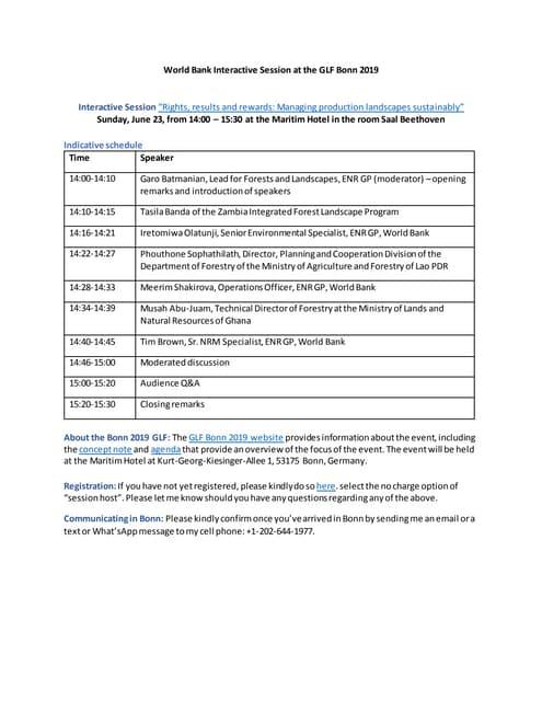 Guidance Participants WB Discussion Forum GLF 2019