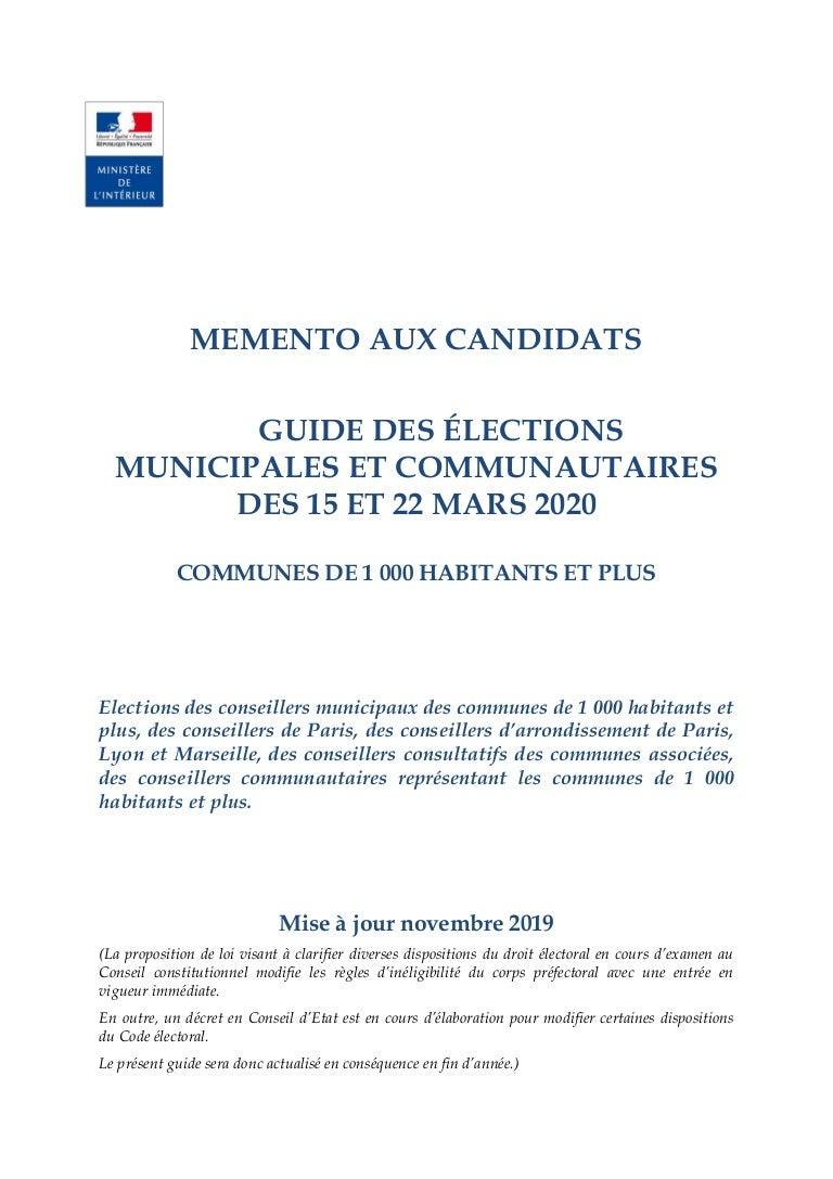 Municipales2020 Guide Pratique Pour Les Communes De 1000 Habitants E