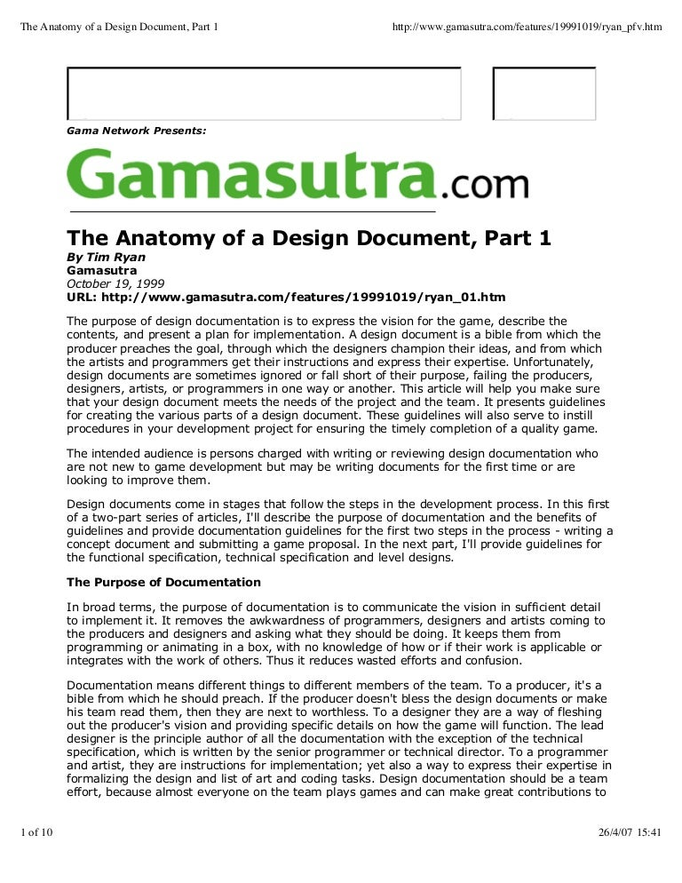Guide To Creation Of Game Concept Document - High concept document game design