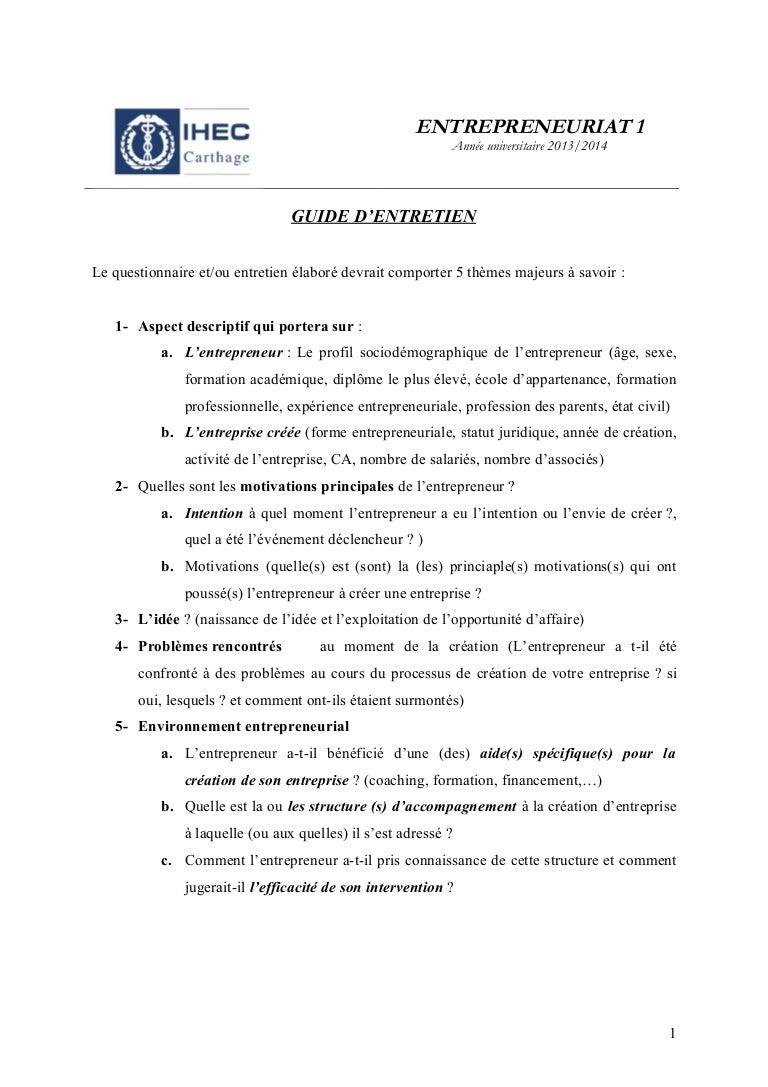 Guide d'entretien avec un entrepreneur exposés-2 lfg-2013