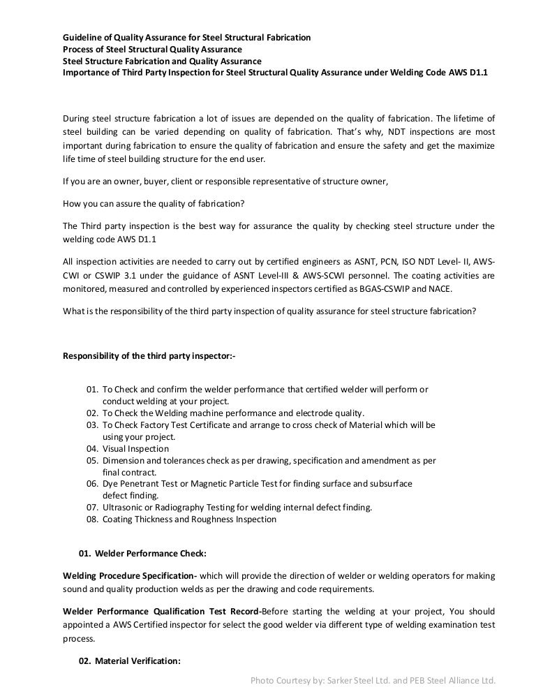 Guideline of quality assurance for steel structural fabrication ...