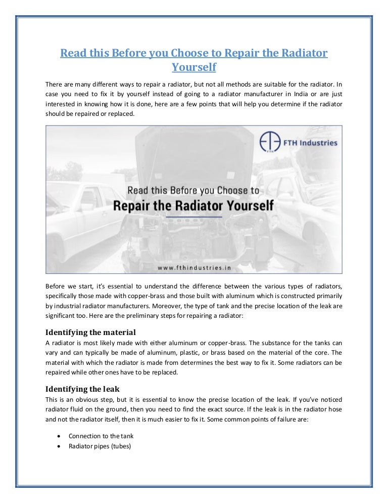 Guidelines to repair radiator yourself