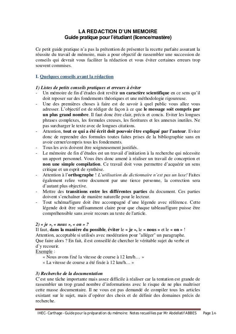 Guide rédaction mémoire (licence et mastère)