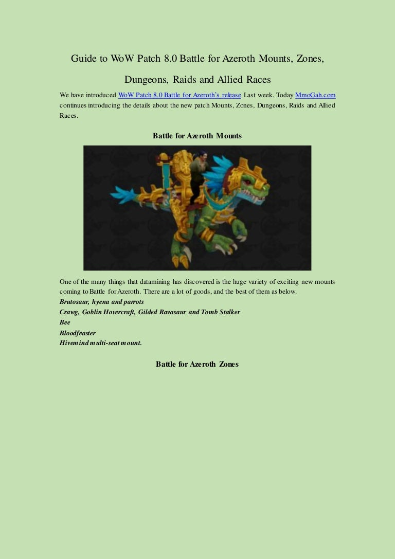 Guide to wow patch 8 0 battle for azeroth mounts, zones, dungeons, ra…