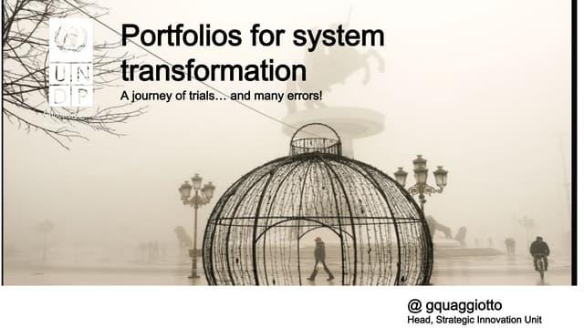 5.5.2021: Portfolios for system transformation by Giulio Quaggiotto (UNDP)