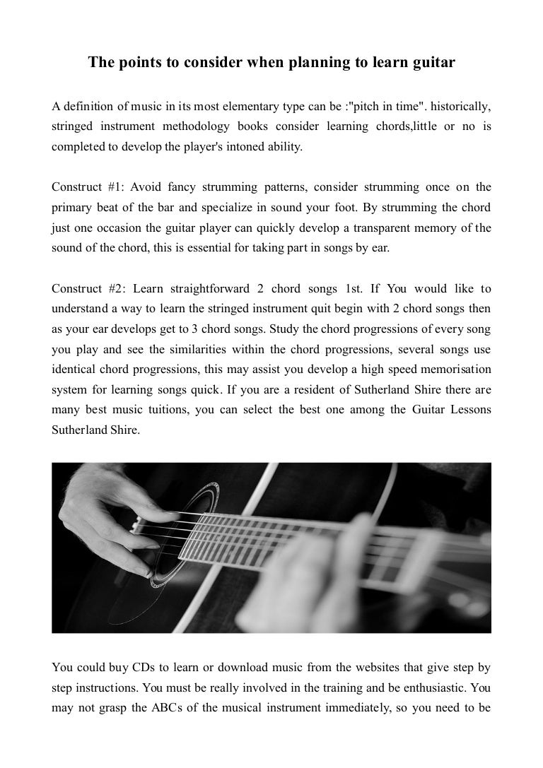 The Points To Consider When Planning To Learn Guitar