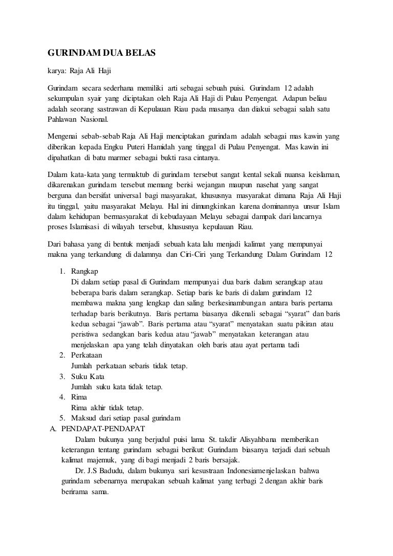 Gurindam 12 Karya Ali Haji