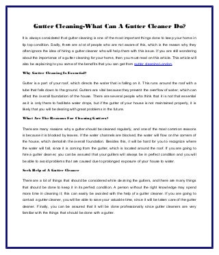 Gutter Cleaning-What Can A Gutter Cleaner Do?