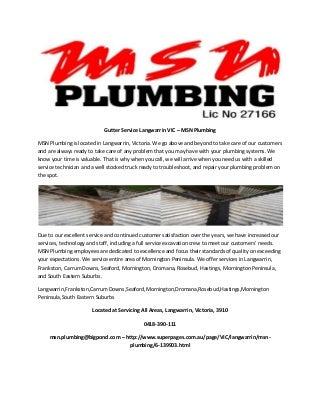 Gutter service langwarrin vic msn plumbing