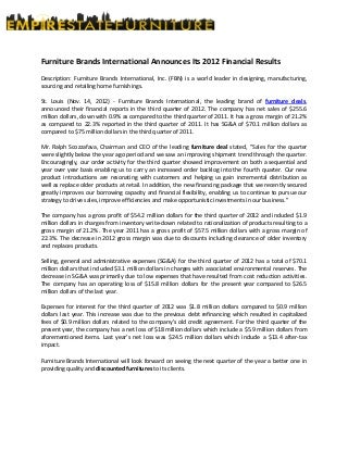 Furniture Brands International Announces Its 2012 Financial Results