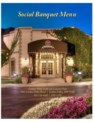 Golden Valley Golf and Country Club's Social Banquet Menu