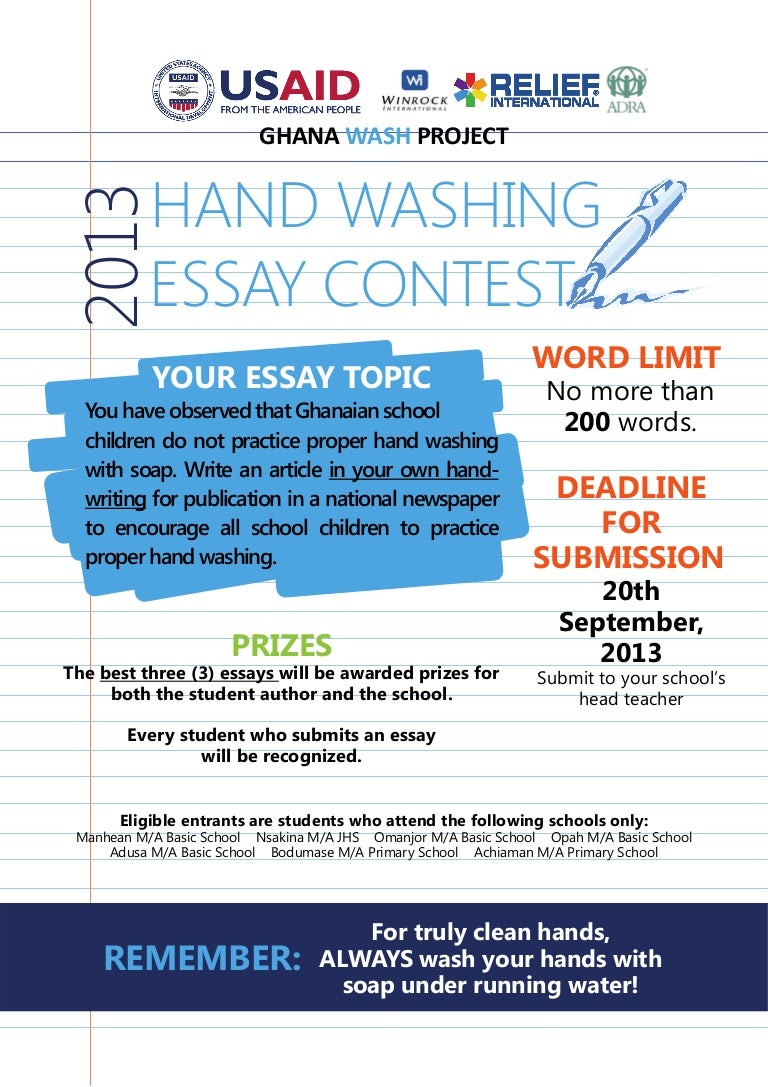 global handwashing day 2013 essay contest poster
