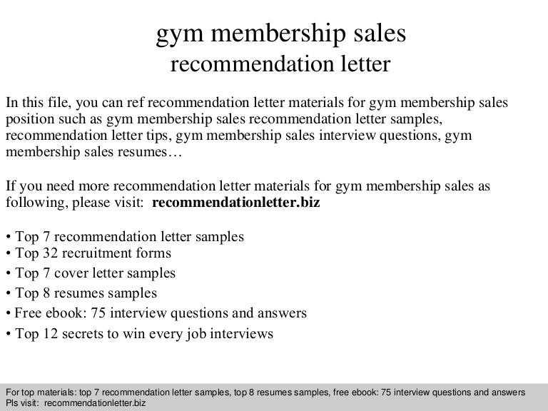 Gym membership sales recommendation letter