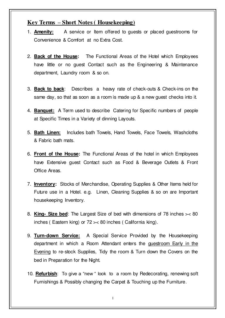 Key Terms for Housekeeping
