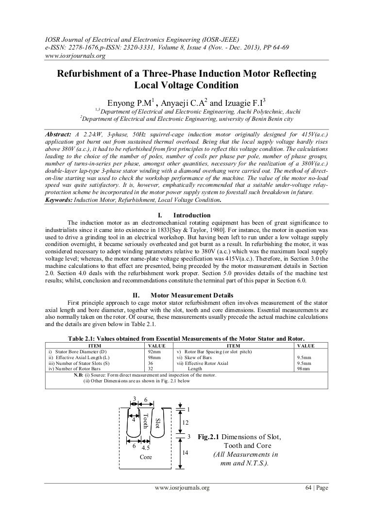 Refurbishment Of A Three Phase Induction Motor Reflecting Local Volta Wiring Diagram Thermal Overload Relay Principle