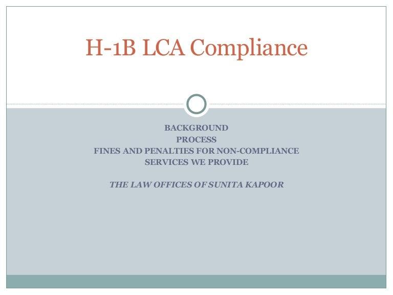 H 1 B Lca Compliance