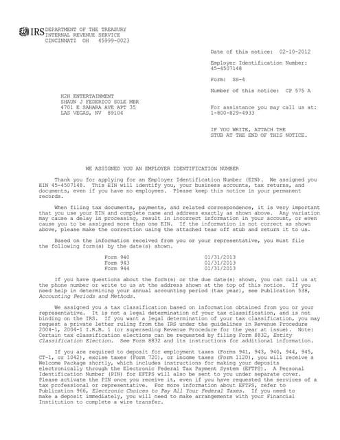ein assignment letter