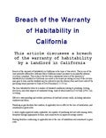 Breach of warranty of habitability in California