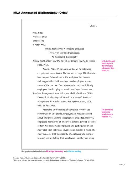 orlov mla diana hacker annotated bibliography