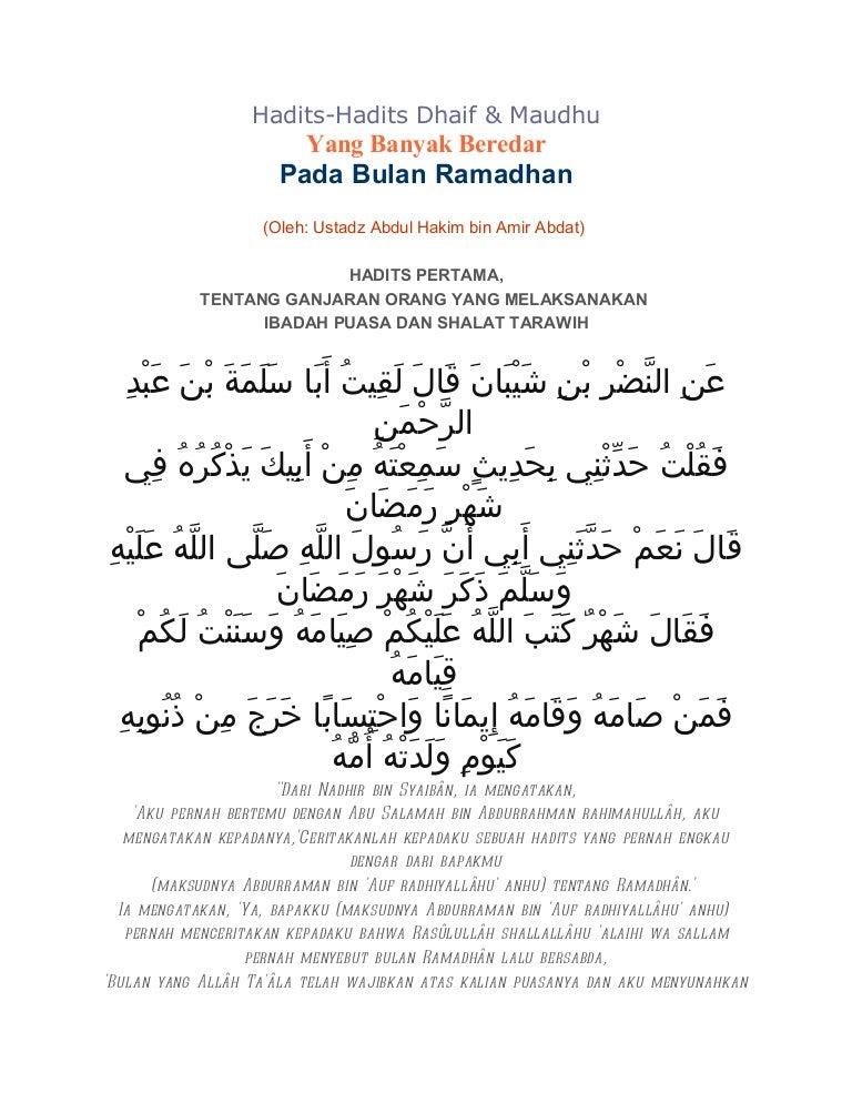 Hadits Dhaif Di Bulan Ramadhan