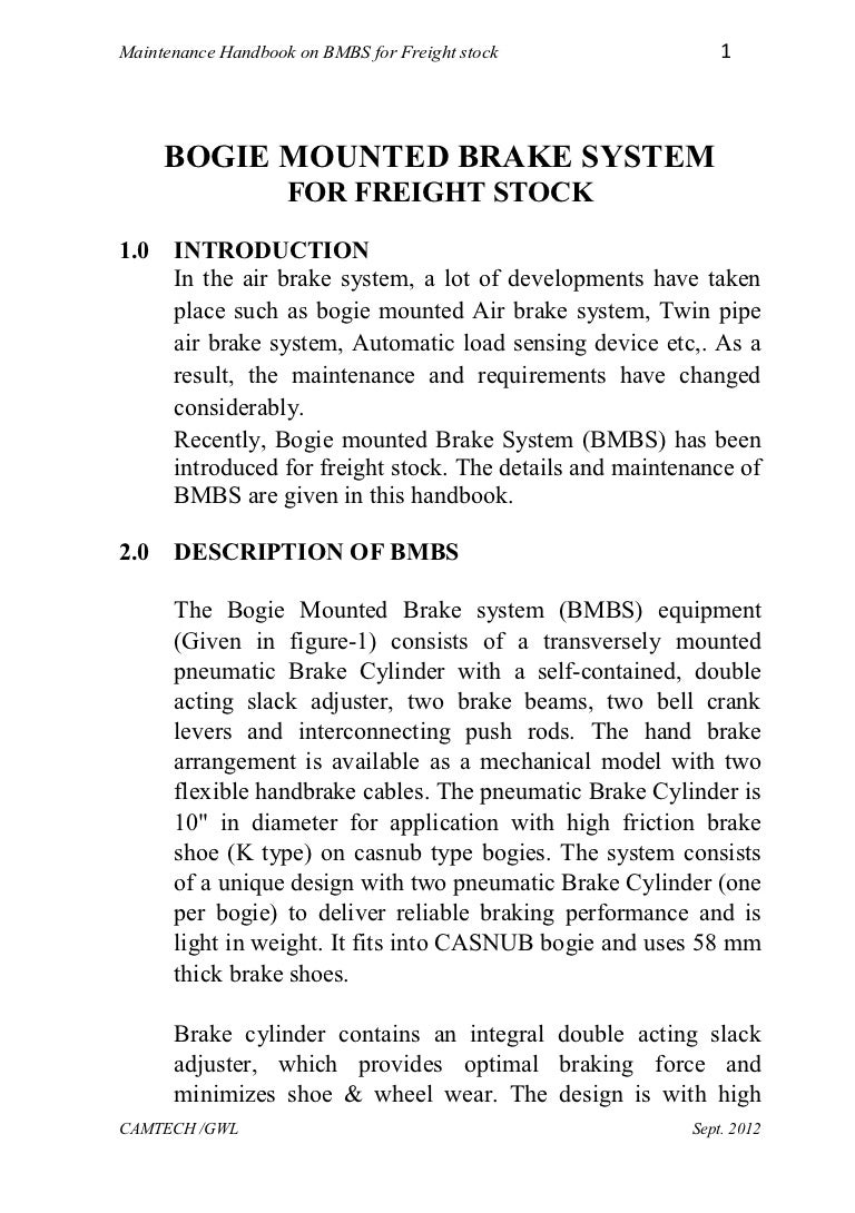 Handbook On Bogie Mounted Brake System Freight Stock Piping Layout