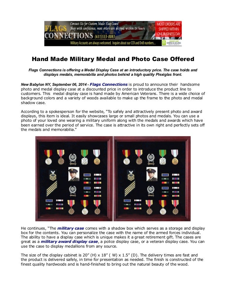 Hand made military medal and photo case offered