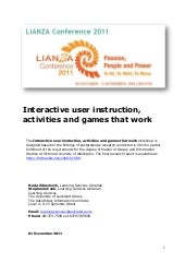 Workshop handout: Empowering users, empowering libraries: Interactive user instruction, activities and games that work