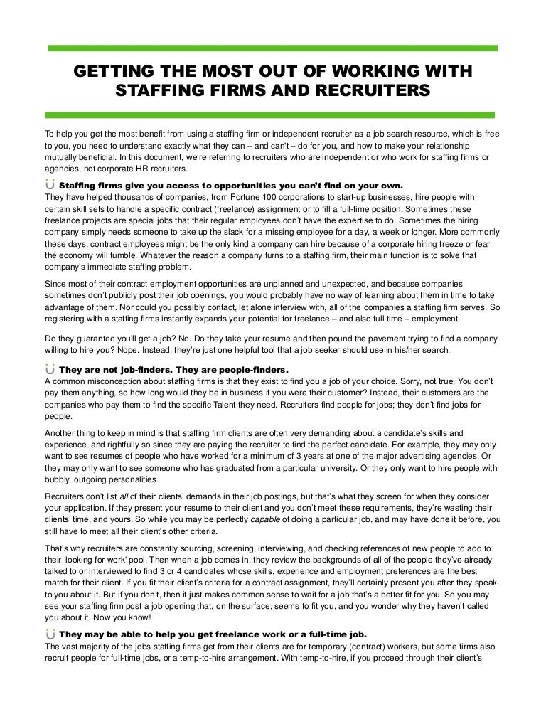 Handout working with staffing firms