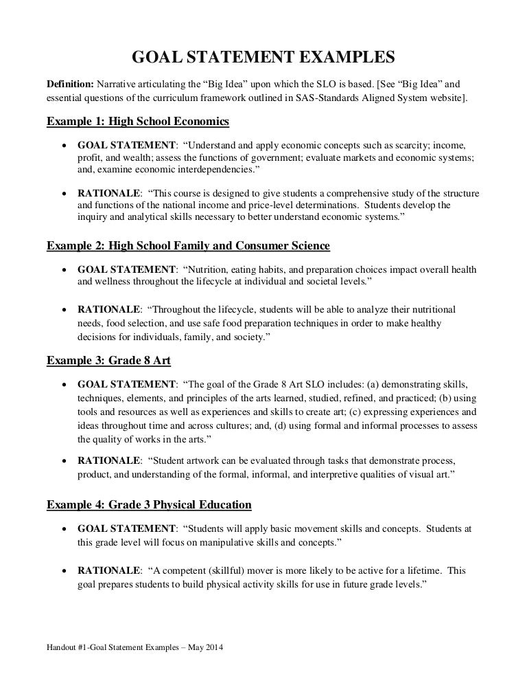 Handout #1-Goal Statement Examples-May 2014-Final