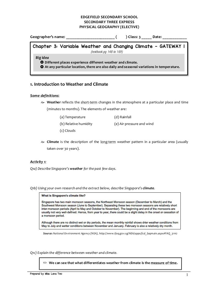 Workbooks inferencing worksheets grade 3 : S3 GE Handout 1 - Weather Climate GW1
