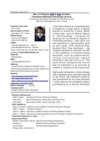 Resume In English Example For Translate  Resume Translation